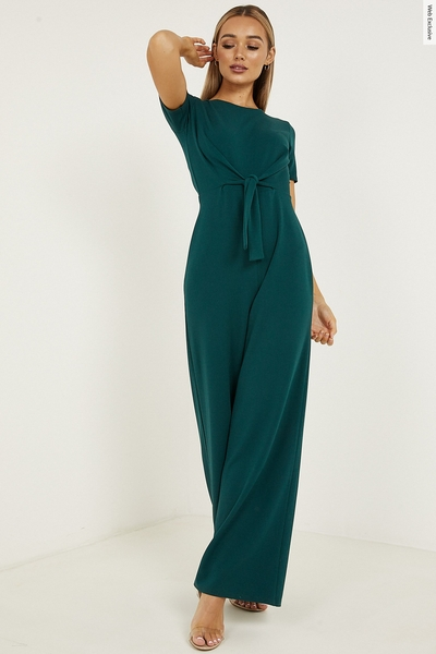 Green Tie Front Palazzo Jumpsuit